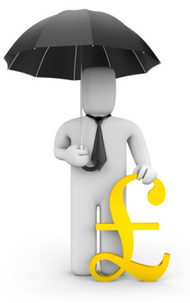 person with umbrella and pound sign