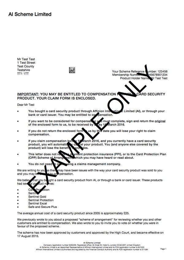 Ppi Claim Letter Template Sample Letter Bank ...